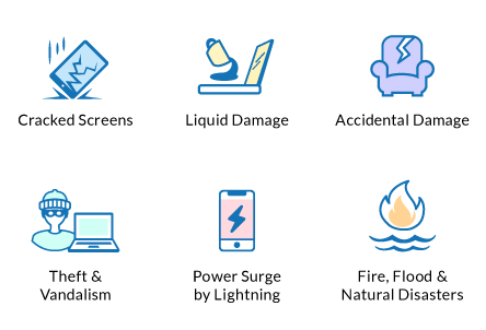 Perils and Damages Covered: Cracked Screens, Liquid Submersion, Spills, Water Damage, Accidental Damage, Theft & Vandalism, Power Surge By Lightning, Weather, Fire, Flood & Natural Diasters